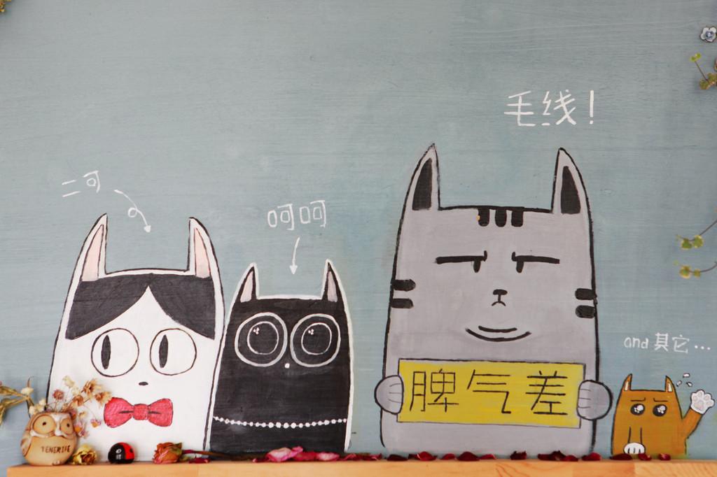 猫咖啡馆可不只日本才有,据我所知青岛就有一家,而且超级清新呆萌,和之前在日本看到的又是完全不同风格。到青岛之前就和朋友打招呼,说让她带我去。果然,她这个咖啡控对此轻车熟路。 于是暑热中的青岛,我们爬上小鱼山的坡道,七拐八绕,终于到心心念念的海边的猫与咖啡馆。店面不算很大,但真的清新且萌,墙绘、玩偶、摆件,搭配生长旺盛的多肉植物,角角落落都是猫元素。如我一般的猫咪控简直爱到不能。 店里有三只肥猫,干干净净,颜值满分。店里人来人往,猫咪也是阅人无数,所以各个都挺拽,我极尽谄媚,它们也爱搭不理,内心说不失落
