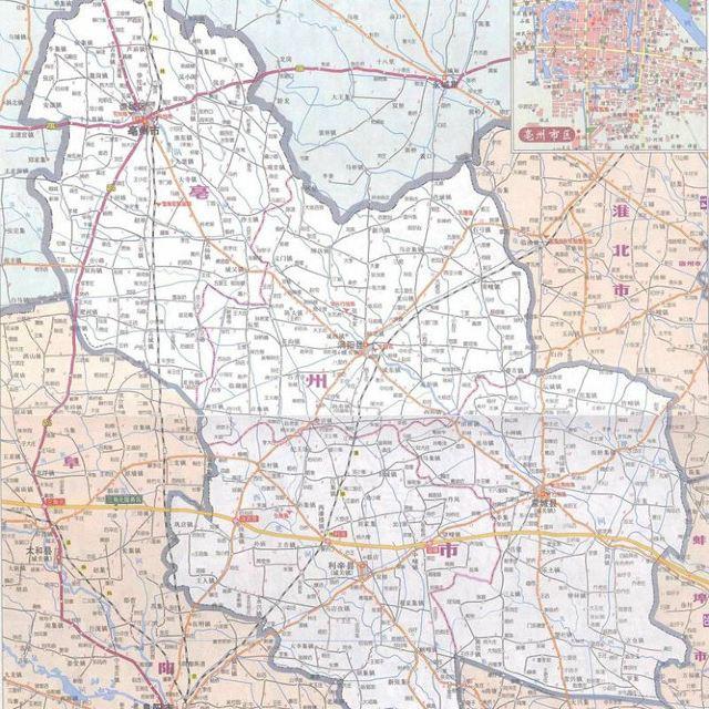 亳州地图   亳州市是2000年5月经国务院批准设立的地级市,辖涡阳