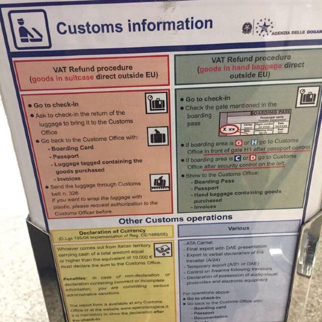 罗马达芬奇机场退税攻略