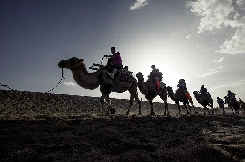 旺季的月牙泉人很多,骆驼队伍一队接一队.