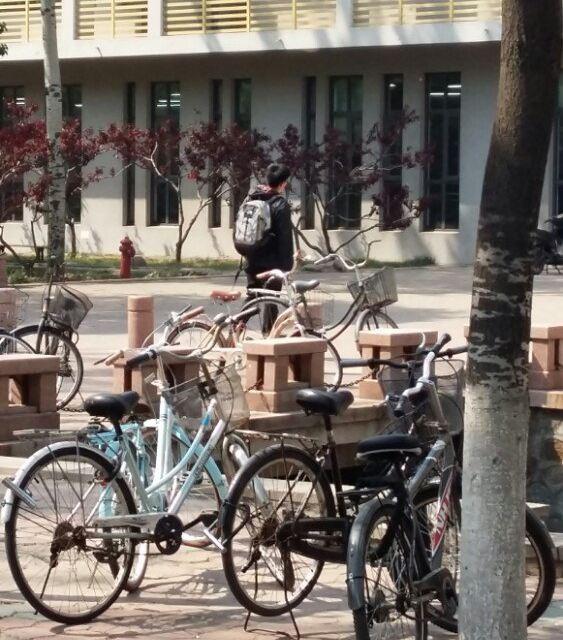 手绘自行车人背影
