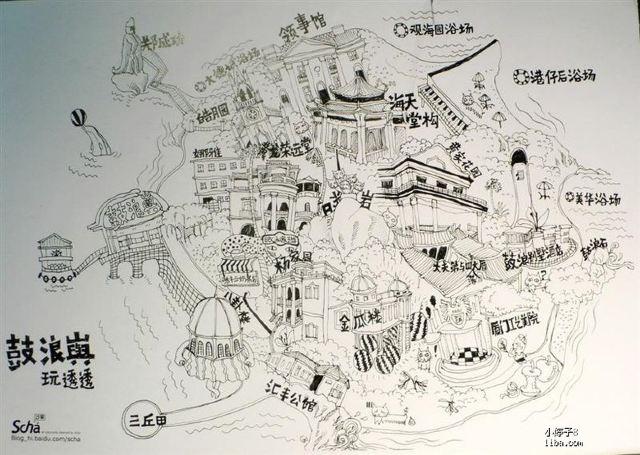 地图 简笔画 手绘 线稿 340 416