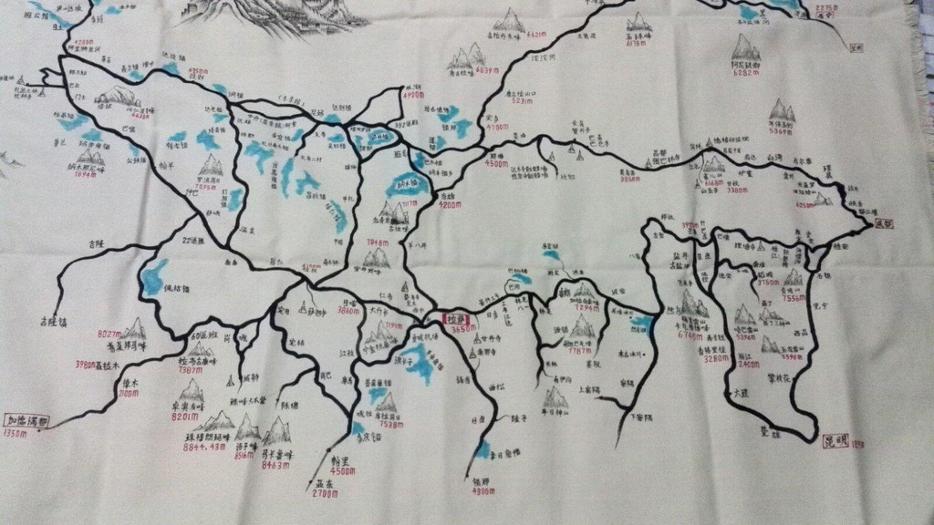 西安到新疆手绘路线图