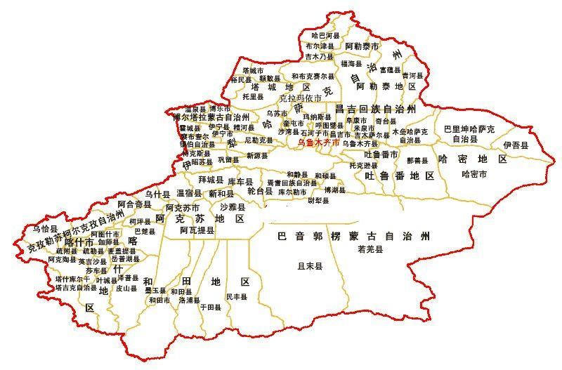 新疆南疆北疆地图