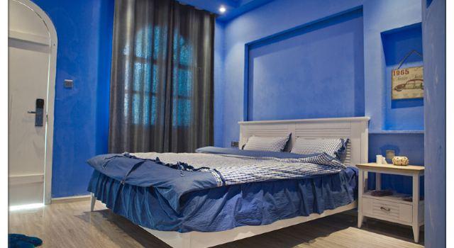 蓝色欧式公主床