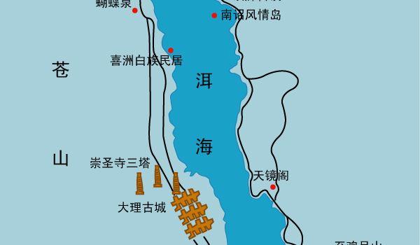 大理三塔景区地图