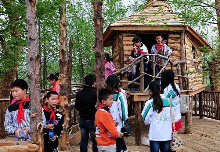 儿童森林玩耍图片