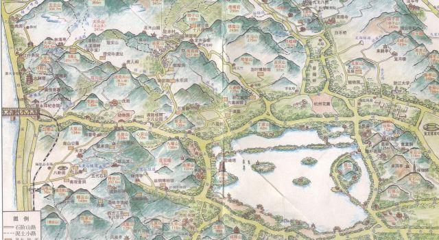 手绘杭州登山地图
