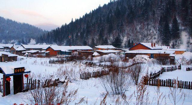 雪山雪树雪屋,一切有形的实物经过雪的装点都显得层次分明,线条柔和.