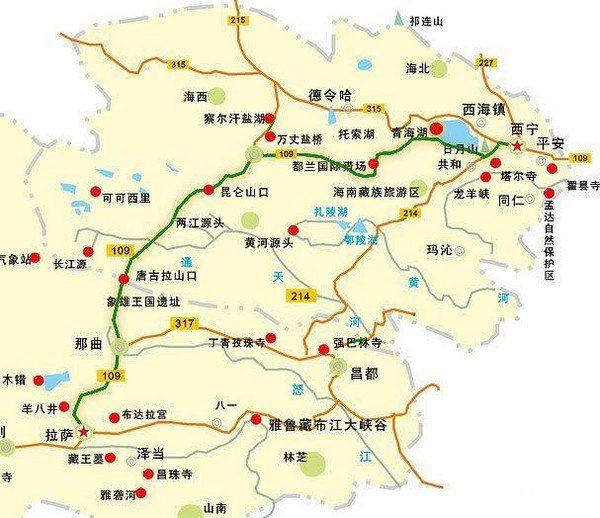 进西藏总共有五条线: 青藏线(路非常好走,太好走了):西宁-德令哈-格尔木-安多-那曲-当雄-拉萨(沿途可以看到美丽的青海湖)。 川藏南线(新都桥到理塘这段实在是TMD难走):从成都出发经雅安与国道108分道,向西翻越二郎山,沿途越过大渡河、雅砻江、金沙江、澜沧江、怒江上游,经雅江、理塘、巴塘过竹巴笼金沙江大桥入藏,再经芒康、左贡、邦达、八宿、然乌、波密、林芝、墨竹工卡、达孜抵拉萨。 川藏北线:从成都出发经雅安直接进甘孜后,经炉霍、甘孜、德格过岗嘎金沙江大桥入藏,再经江达、昌都抵南北线交合点邦达后,经波密