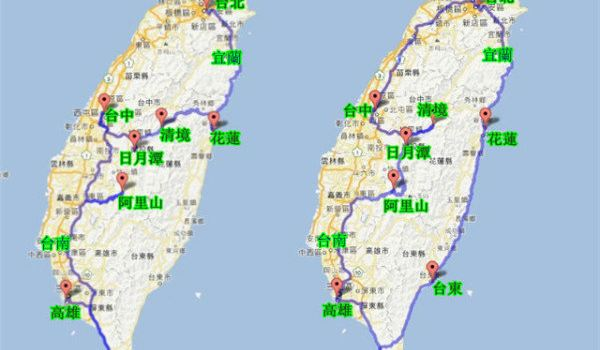 台湾自由行环岛旅游 环岛包车行程路线规划图片