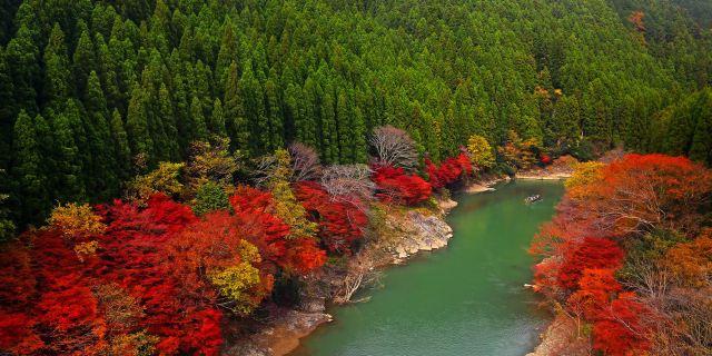 横跨桂川的渡月桥是岚山的标志性景观图片