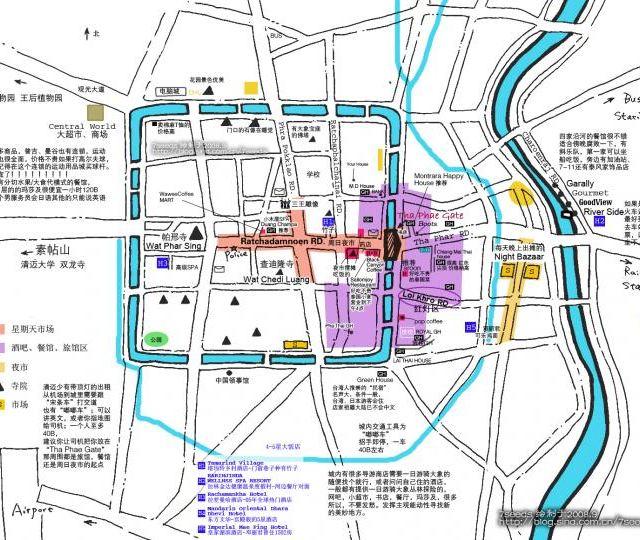 清迈手绘地图,主要的寺庙都在老城区内.著名的周日夜市也在老城内.