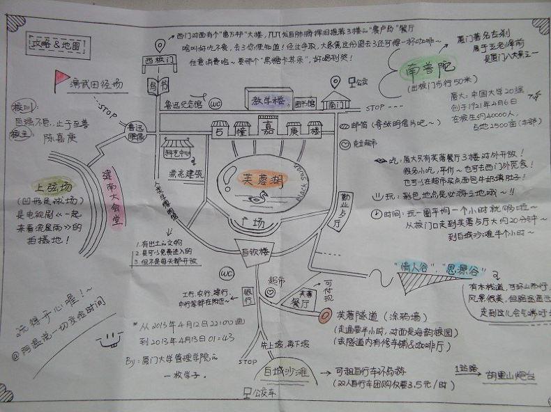 厦门大学手绘地图,超实用哦!