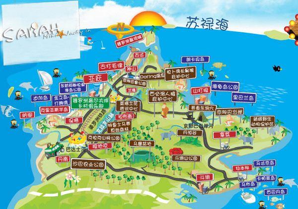 吉隆坡景点手绘地图