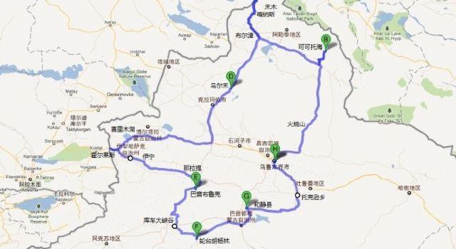 北疆旅游手绘地图