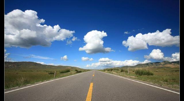 蓝色道路背景素材