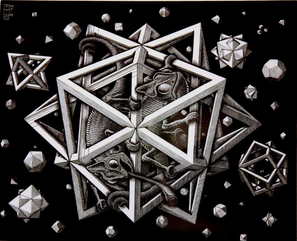 插图:埃舍尔的平面镶嵌画构想草稿,1950