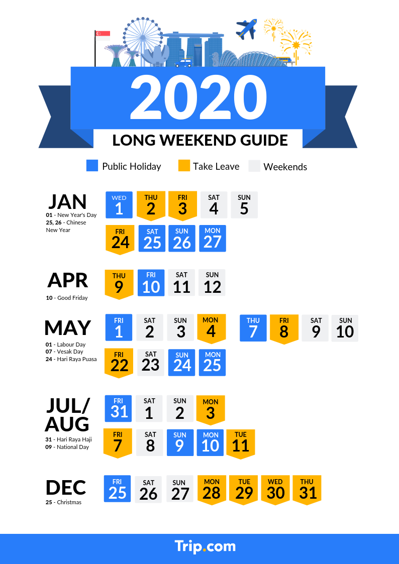 Chinese New Year Holiday 2020.Singapore 2020 Public Holidays And Long Weekend Calendar