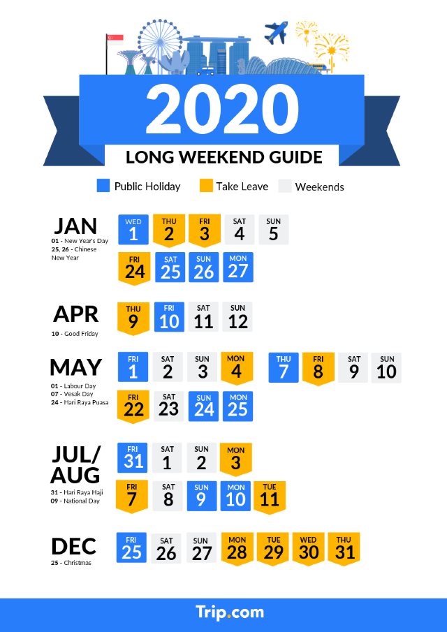 Singapore 2020 Public Holidays and Long Weekend Calendar